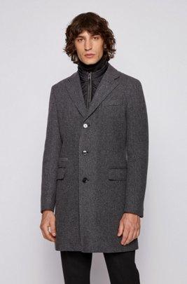 Slim-fit blazer-style coat with detachable inner bib, Light Grey