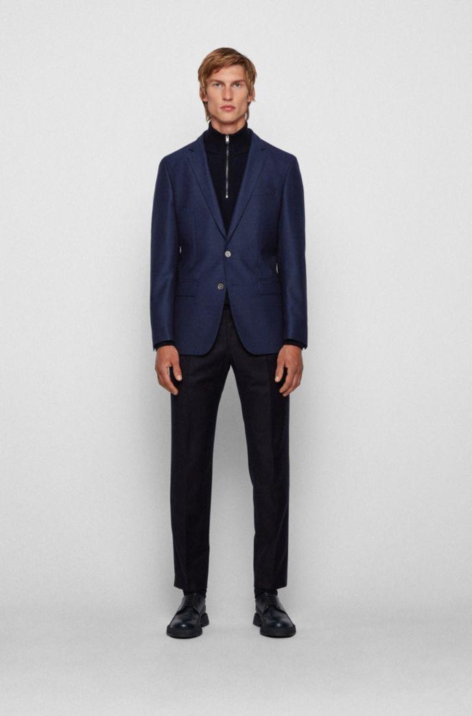 Slim-fit jacket in micro-patterned virgin wool