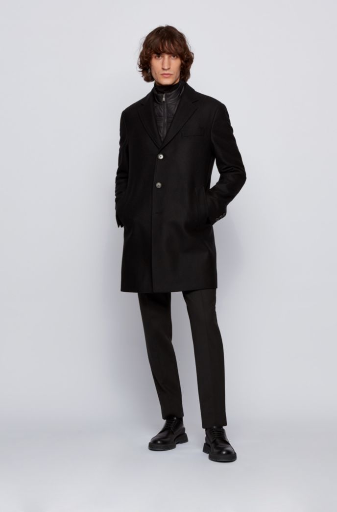 Slim-fit wool-blend coat with detachable inner bib