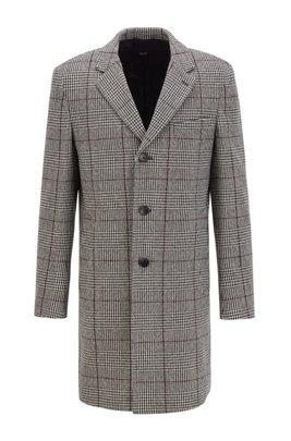Slim-fit blazer coat in a Glen-check wool blend, Light Grey