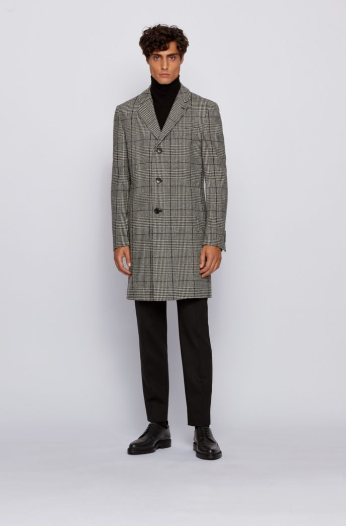 Slim-fit blazer coat in a Glen-check wool blend