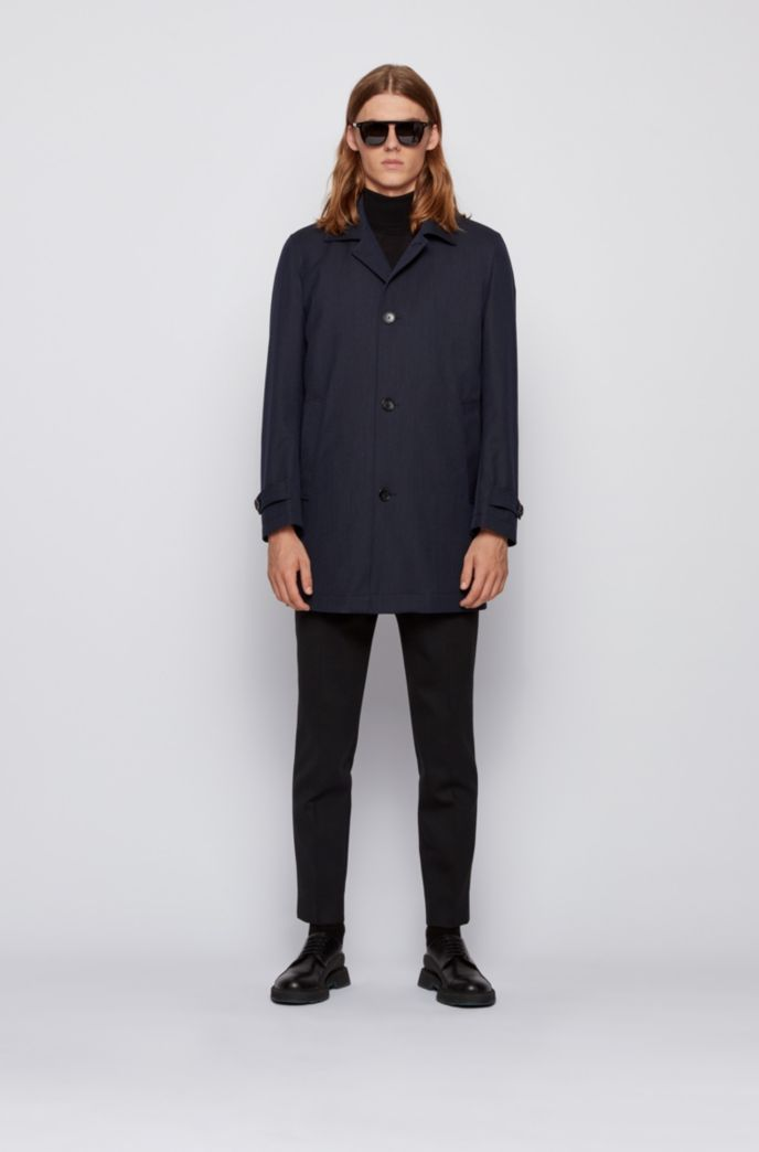 Water-repellent tab-collar coat with wool and cotton