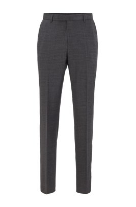Regular-fit pants in stretch wool with mini check, Light Grey