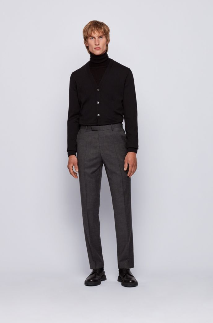 Regular-fit pants in stretch wool with mini check