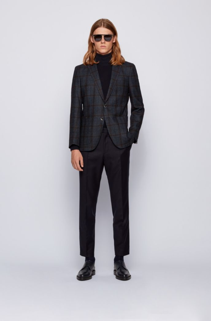 Slim-fit jacket in woven-checked cloth