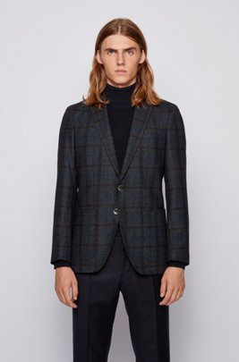 Slim-fit jacket in woven-checked cloth, Dark Blue