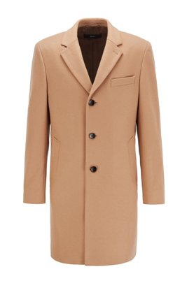 Slim-fit coat in virgin wool with cashmere, Beige