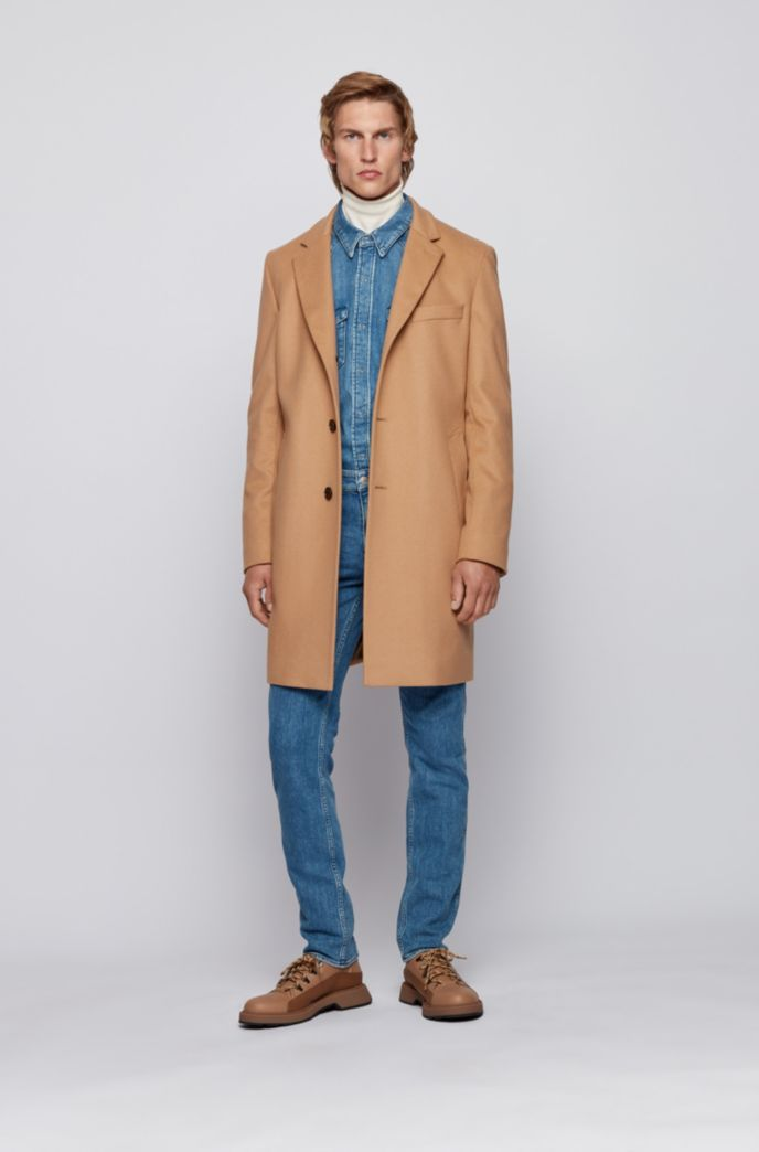 Slim-fit coat in virgin wool with cashmere