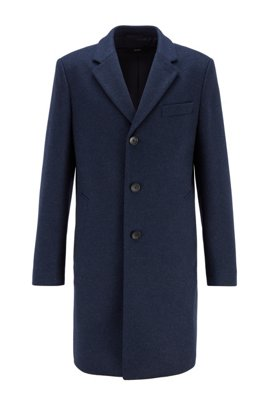 Slim-fit coat in virgin wool with cashmere, Light Blue