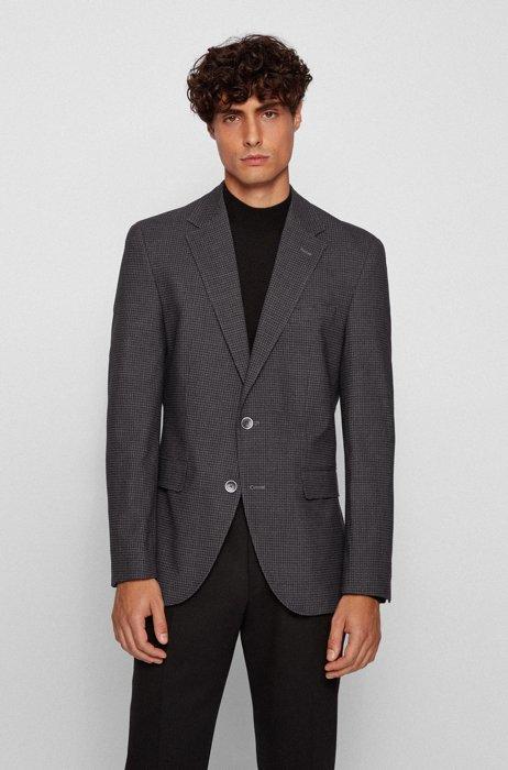 Regular-fit jacket in patterned fabric, Light Grey