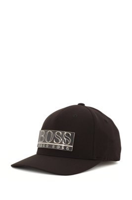 Stretch-twill cap with metal logo plate, Black