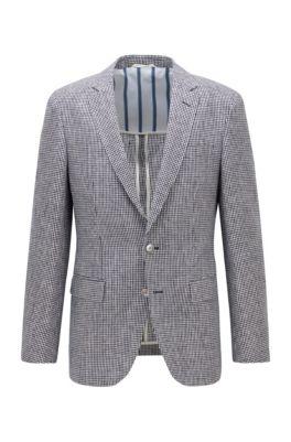 Slim-fit jacket in micro-patterned linen, Dark Blue