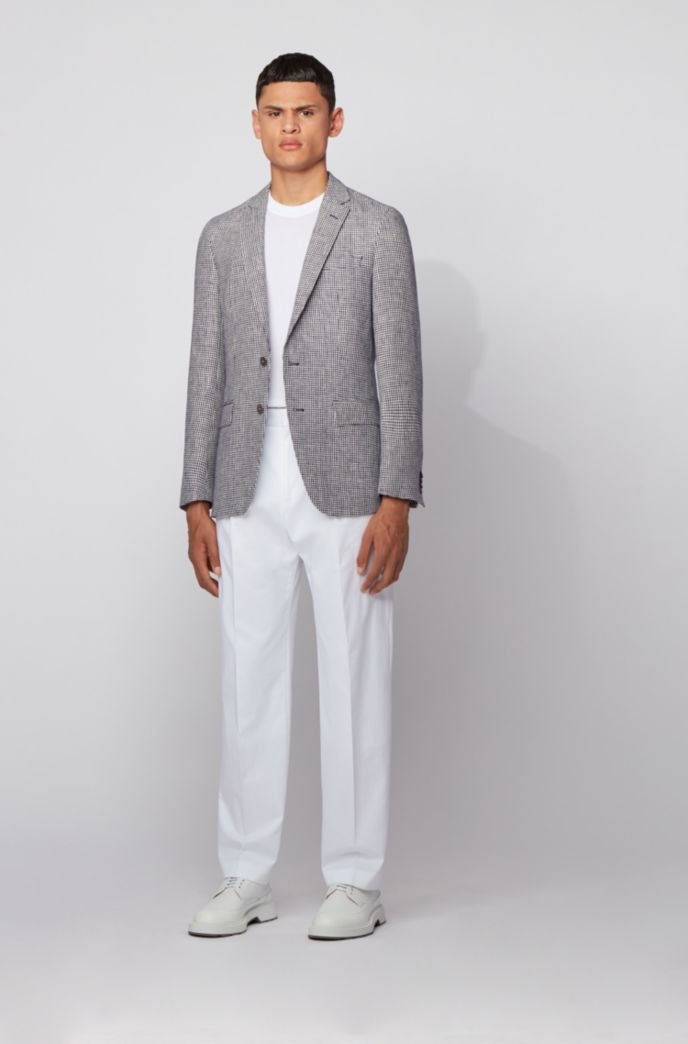 Slim-fit jacket in micro-patterned linen