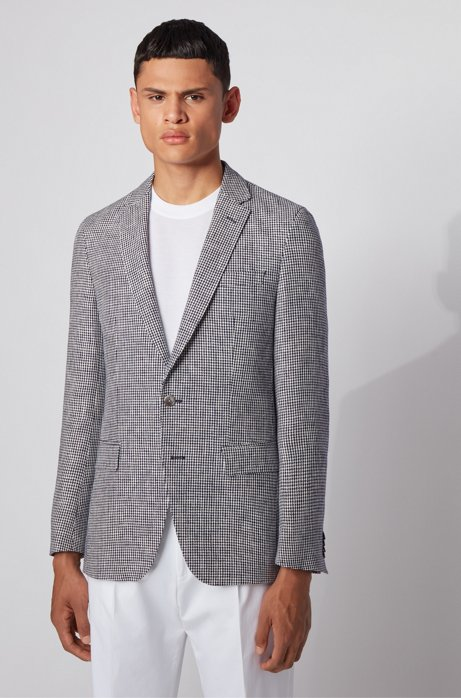 Slim-fit jacket in micro-patterned linen, Dark Blue