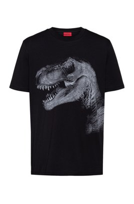 Regular-fit cotton-jersey T-shirt with graphic print, Black