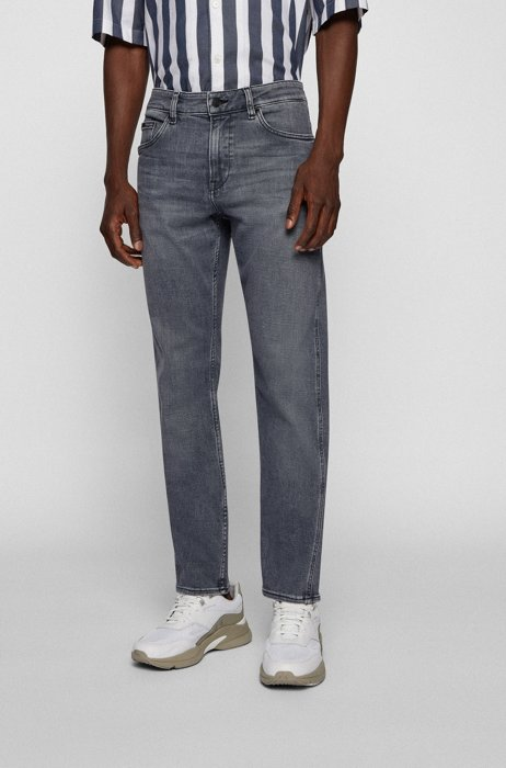 Cashmere-touch slim-fit jeans in Italian gray denim, Grey