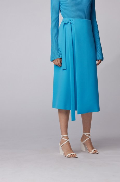 Midi wrap skirt with tie belt in Portuguese twill, Blue