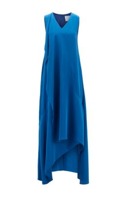 Long-length sleeveless dress in silk with waterfall front, Blue