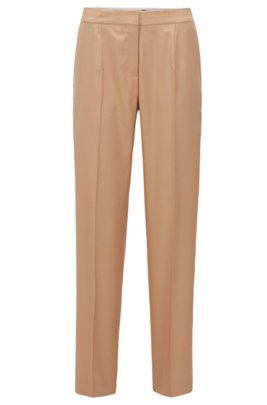 Tapered-fit pants in silk with high waistband , Light Brown