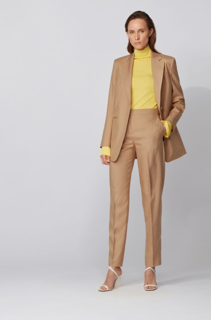 Tapered-fit pants in silk with high waistband