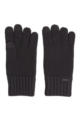 Wool-blend gloves with touchscreen-friendly tips, Black