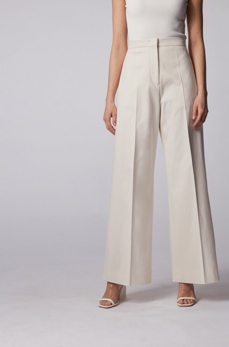 High-waisted wide-leg pants in stretch cotton, Natural
