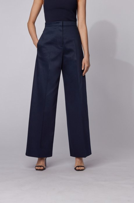 High-waisted wide-leg pants in stretch cotton, Open Blue