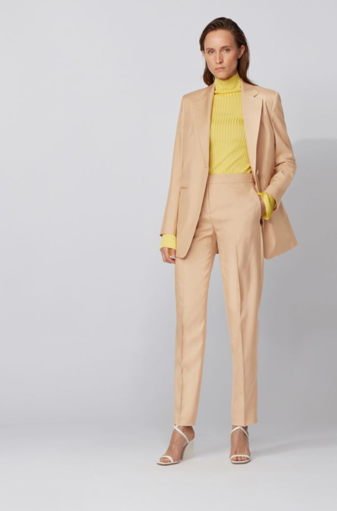Relaxed-fit jacket in silk poplin with slit cuffs