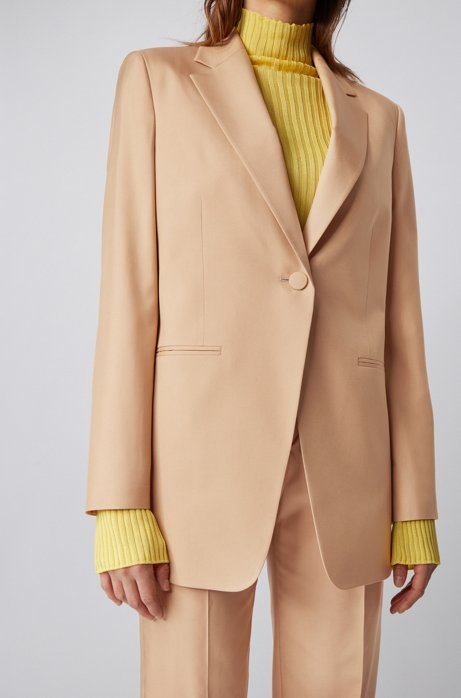 Relaxed-fit jacket in silk poplin with slit cuffs, Light Brown