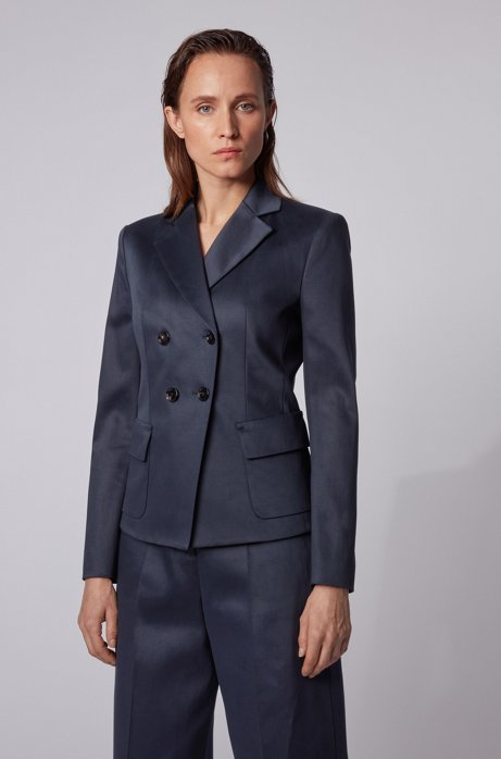 Slim-fit jacket in stretch-cotton twill, Open Blue