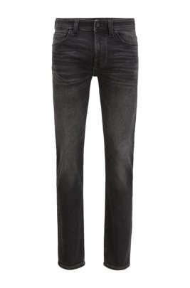 Slim-fit jeans in black knitted stretch denim, Black
