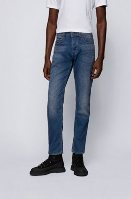 Tapered-fit jeans in vintage-look knitted denim, Dark Blue