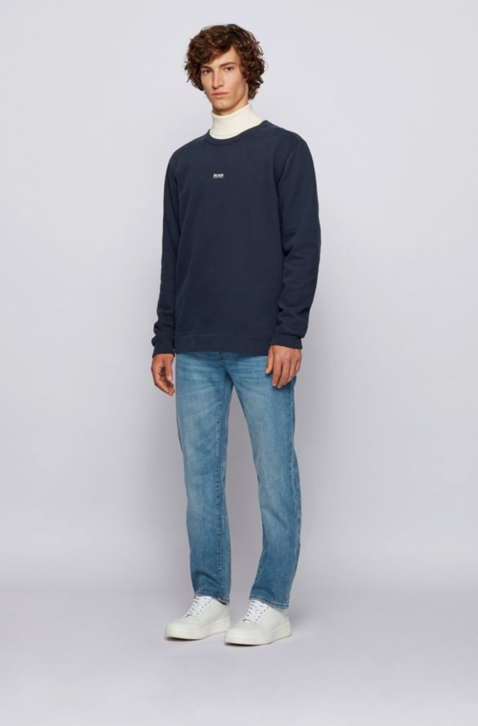 Regular-fit jeans in mid-blue super-stretch denim