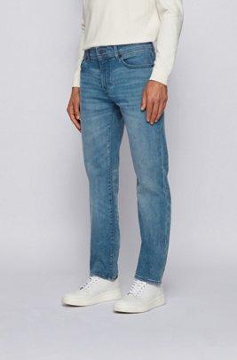 Regular-fit jeans in mid-blue super-stretch denim, Blue