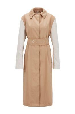 Water-repellent color-block coat in cotton, Light Brown