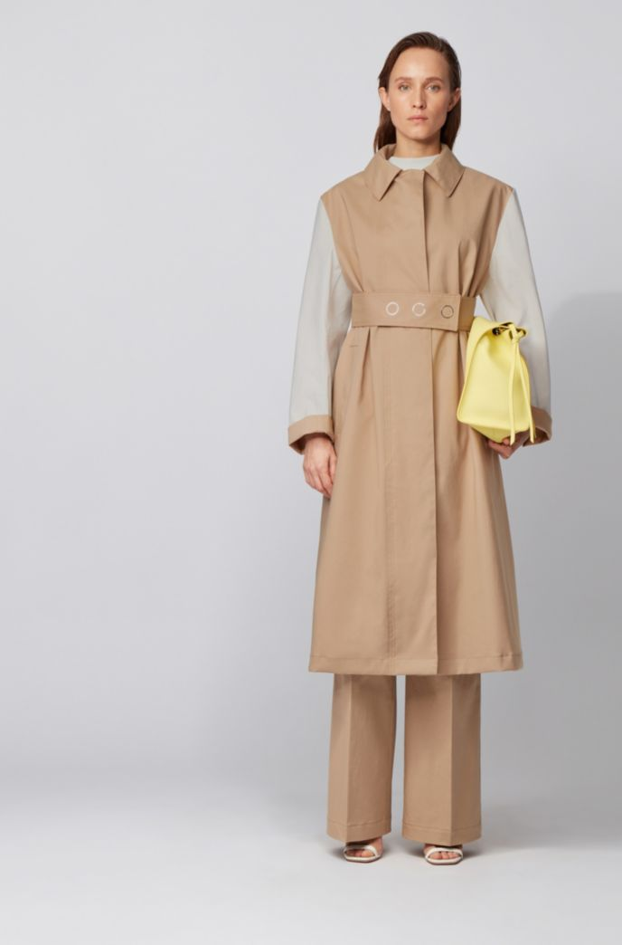 Water-repellent color-block coat in cotton