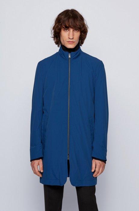 Slim-fit coat with zip-through front, Dark Blue