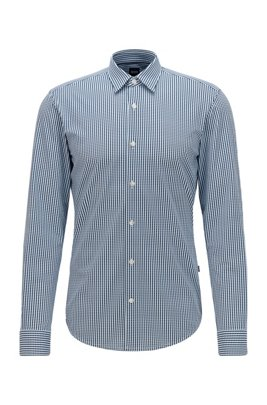 Slim-fit shirt with all-over print, Dark Blue