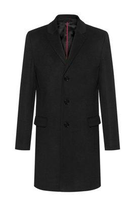 Formal slim-fit coat in pure cashmere, Black