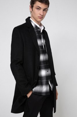 Formal slim-fit coat in pure cashmere, Black