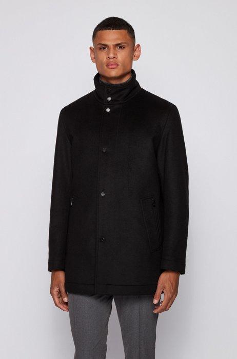 Funnel-neck automobile coat in a wool blend, Black