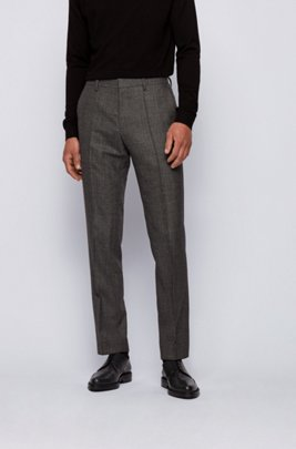 Slim-fit pants in virgin wool with herringbone pattern, Black