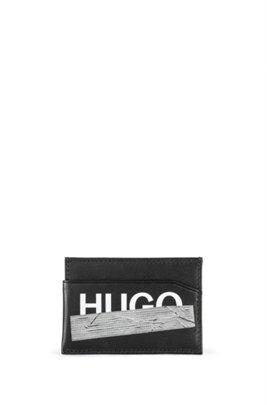 Leather card holder with seasonal logo, Black