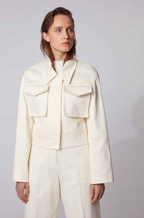 Relaxed-fit cropped jacket in stretch cotton, Natural