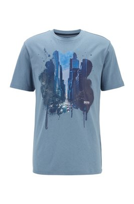 Regular-fit mono-material T-shirt with cityscape print, Dark Grey