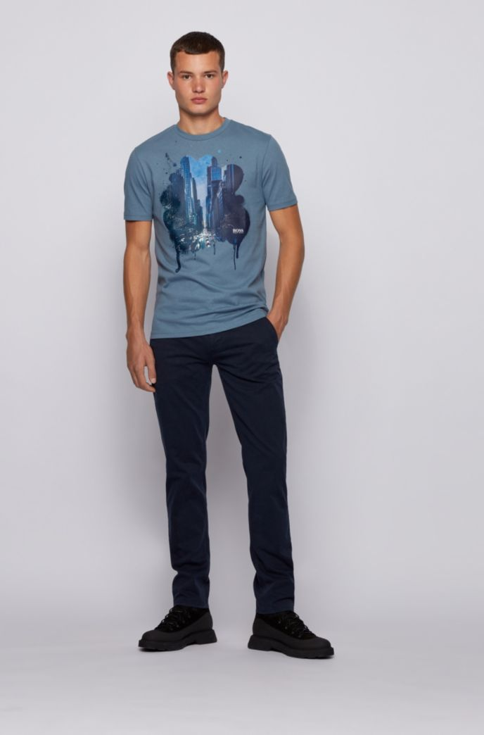 Regular-fit mono-material T-shirt with cityscape print
