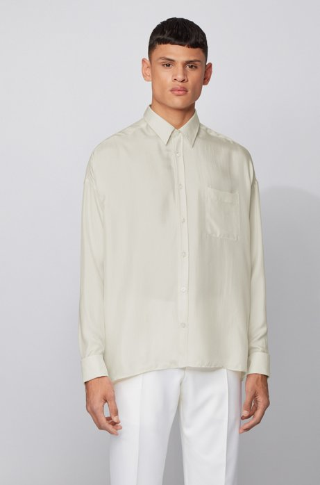 Relaxed-fit shirt in Italian silk twill, Natural