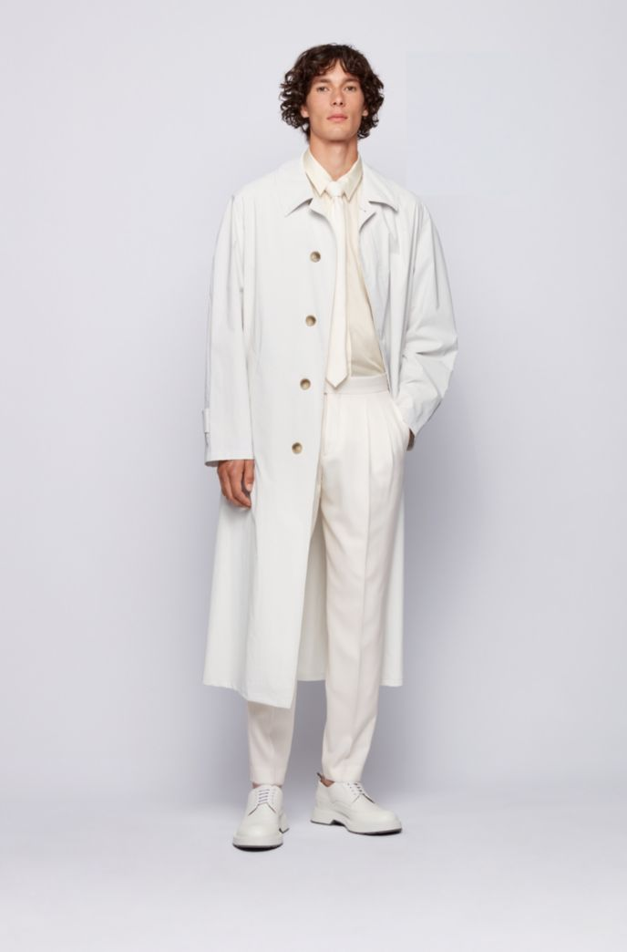 Relaxed-fit automobile coat in water-repellent Italian cotton