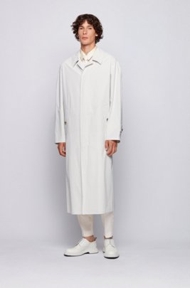 Relaxed-fit automobile coat in water-repellent Italian cotton, White