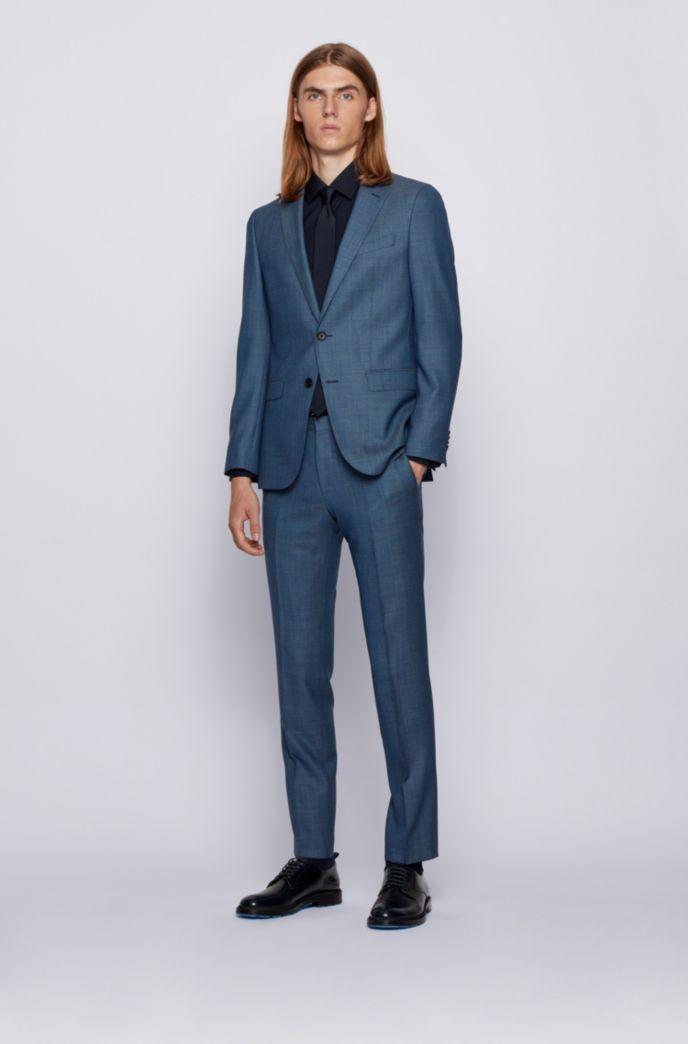 Slim-fit suit in micro-patterned virgin wool serge